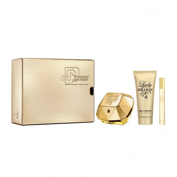 Paco Rabanne Lady Million EDP 80ml, Body Lotion 100ml & Travel Spray 10ml