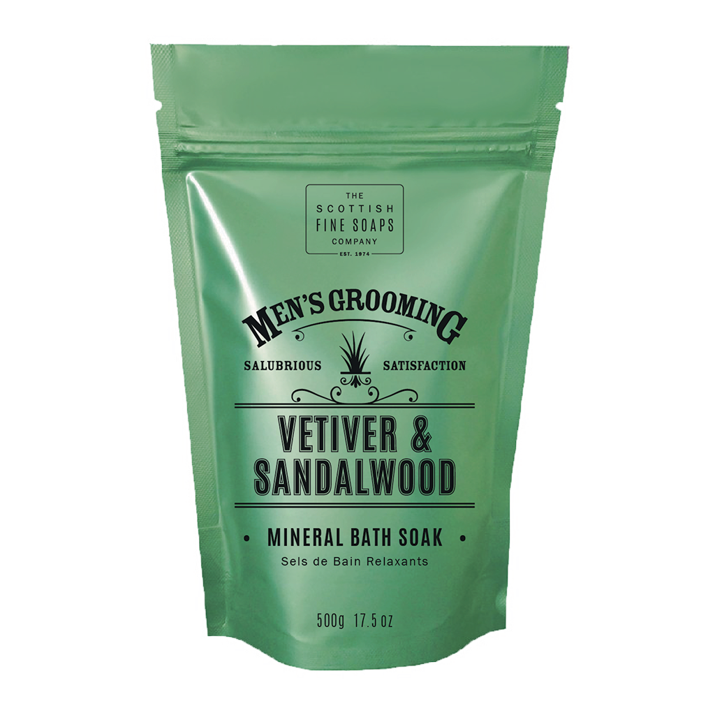 Scottish Fine Soaps Vetiver & Sandalwood Mineral Bath Soak 500g