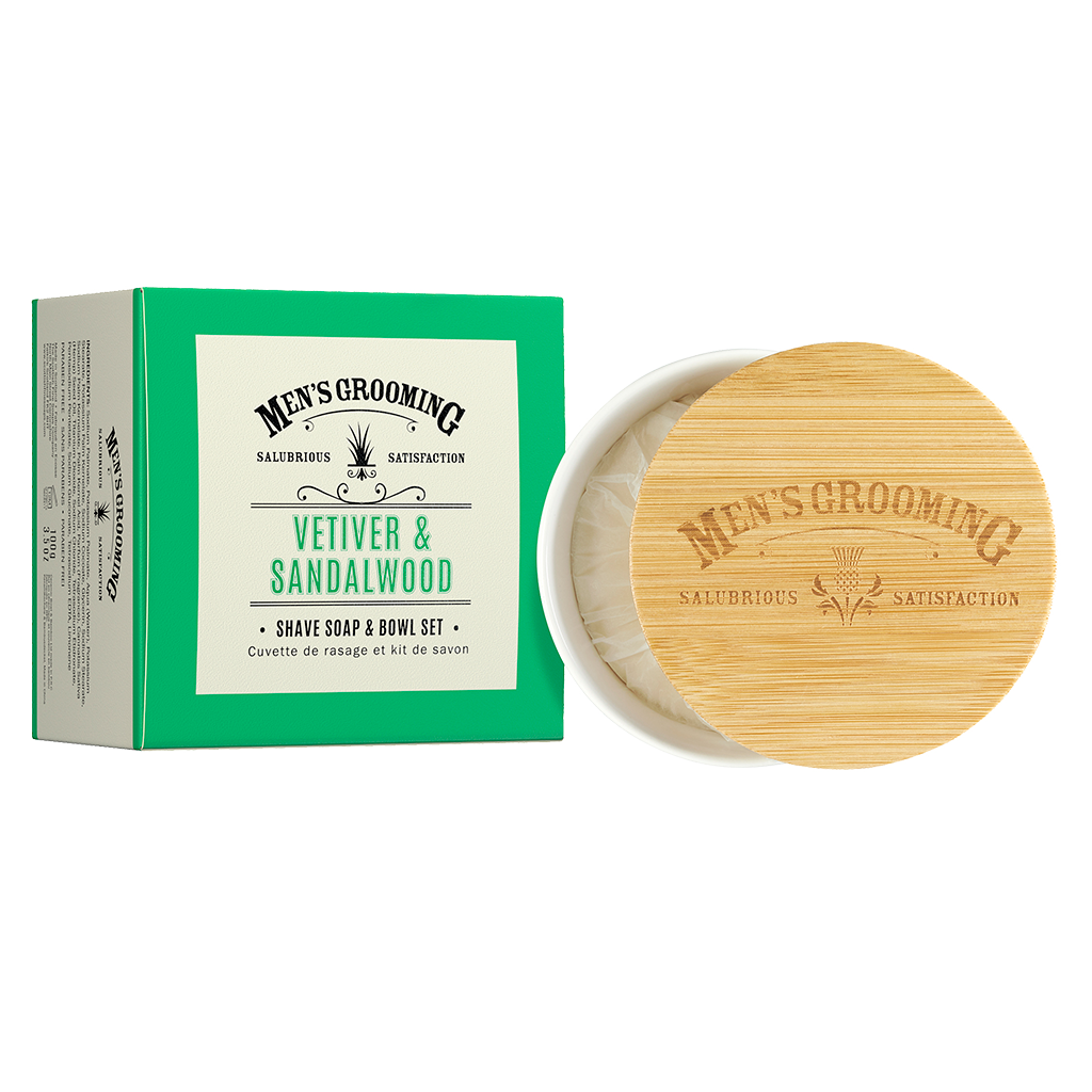 Scottish Fine Soaps Vetiver & Sandalwood Shave Soap & Bowl Set 100g