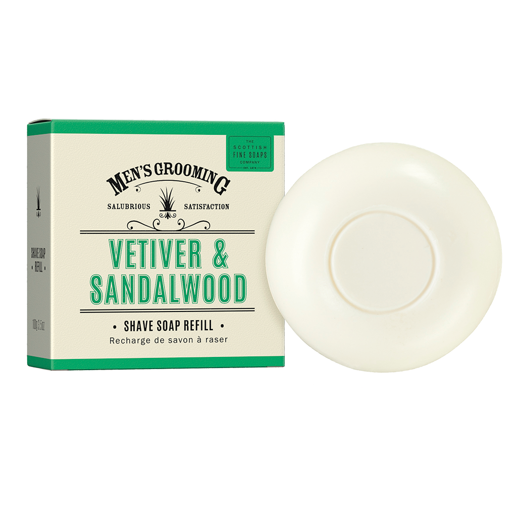 Scottish Fine Soaps Vetiver & Sandalwood Shave Soap Refill 100g