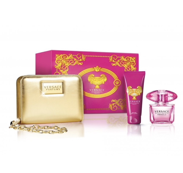 Versace Bright Crystal Absolu EDP 90ml Gift Set with Gold Purse