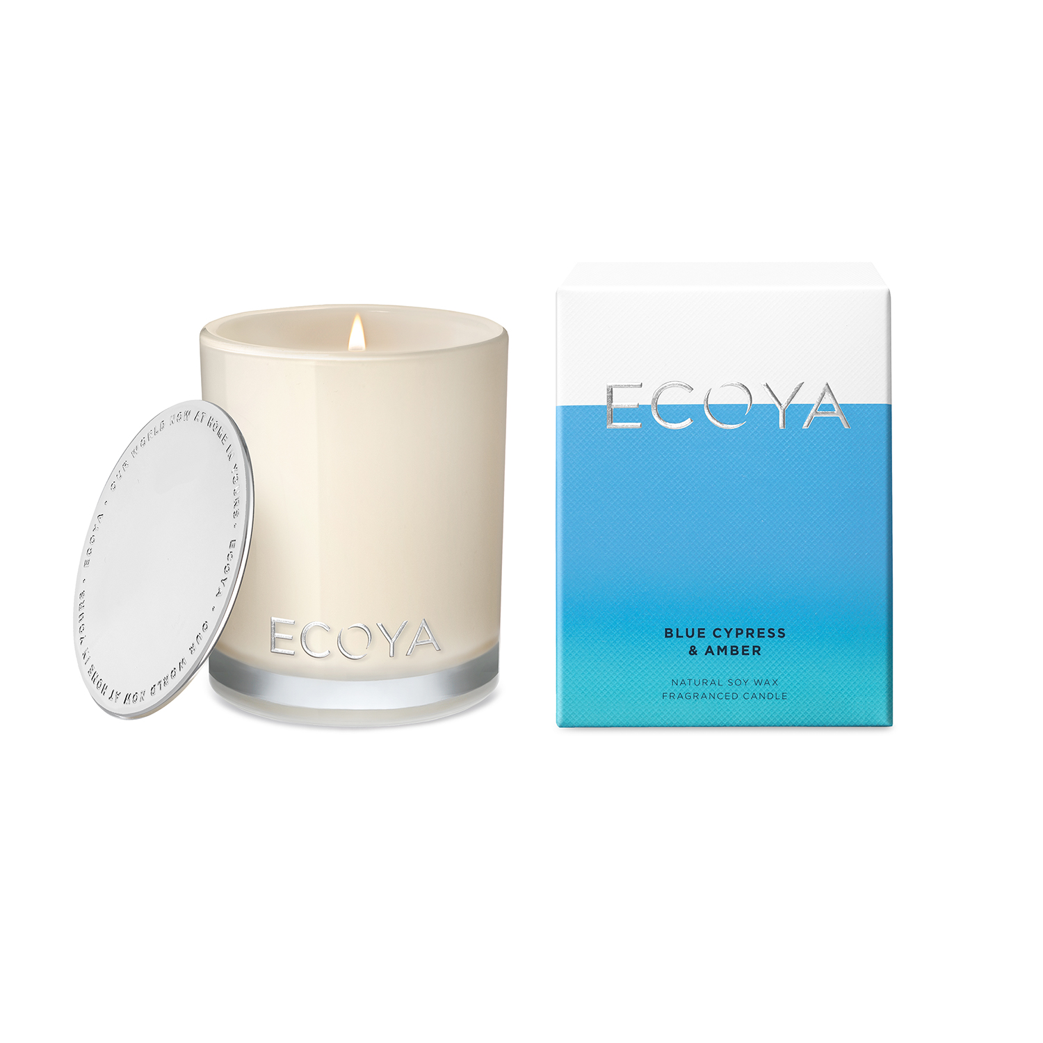 Ecoya Blue Cypress and Amber Madison Jar Candle 400g