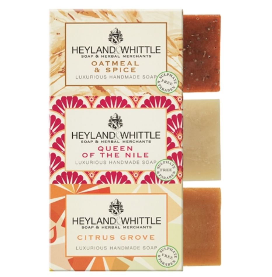 Heyland & Whittle Nurturing Care Soap Trio -Oatmeal & Spice, Queen of the Nile & Citrus Grove