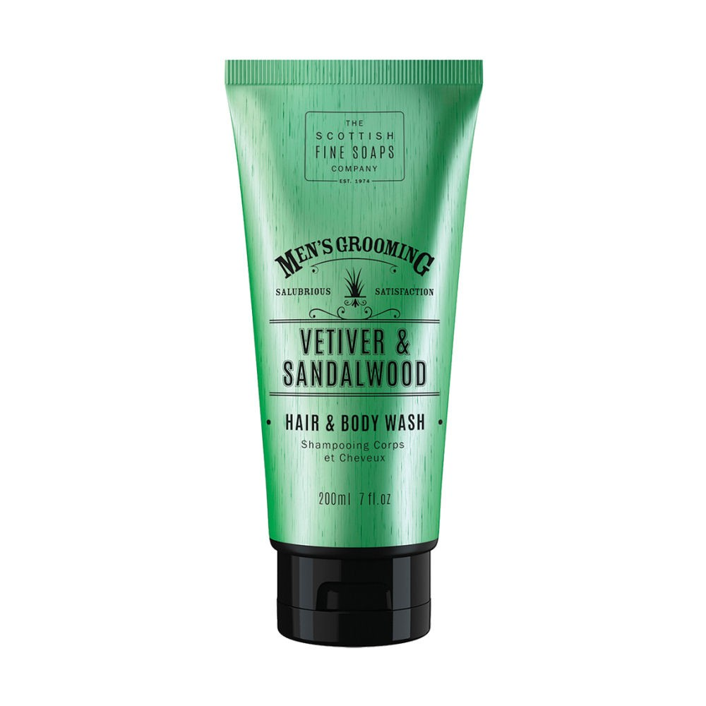 Scottish Fine Soaps Vetiver & Sandalwood Hair & Body Wash 6.8oz (200ml) Tube