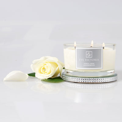 Eve Victoria Rose & Sandalwood 3 Wick Candle